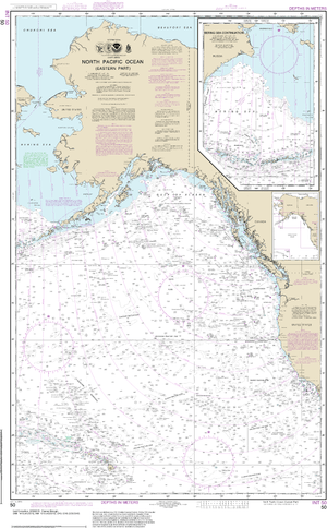 NOAA Nautical Chart 50: North Pacific Ocean (eastern part) Bering Sea Continuation