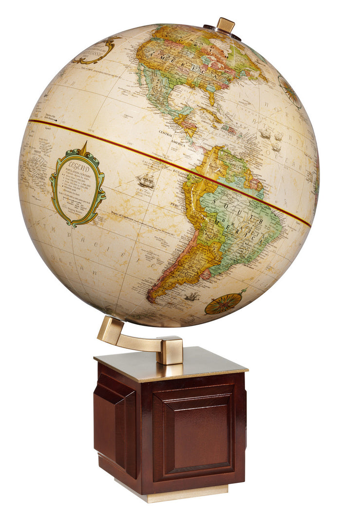 Frank Lloyd Wright inspired Four Square 16 Inch Desktop World Globe By Replogle Globes