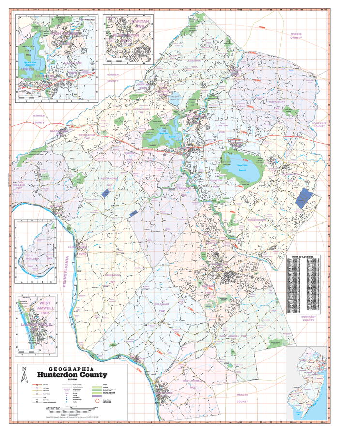 Hunterdon County, NJ Wall Map