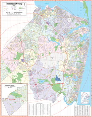 Monmouth County, Nj Wall Map - Large Laminated