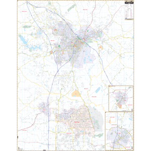 Macon And Warner Robins, Ga Wall Map - Large Laminated