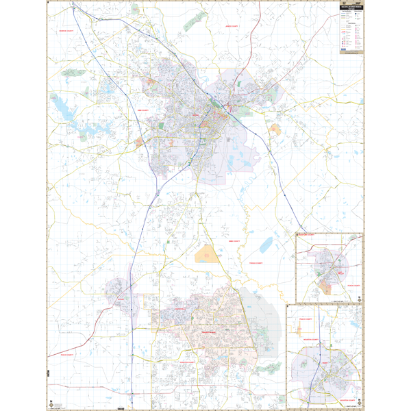 Macon And Warner Robins, GA Wall Map