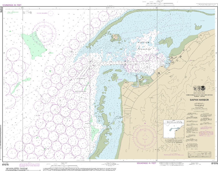 NOAA Nautical Chart 81076: Commonwealth of the Northern Mariana Islands Saipan Harbor