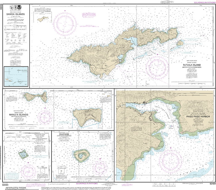 NOAA Nautical Chart 83484: U.S. Possessions in Samoa Islands Manua Islands;Pago Pago Harbor;Tutuila Island;Rose Atoll;Swains Island