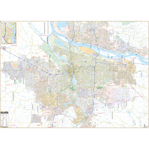 Portland, Or Wall Map - Large Laminated
