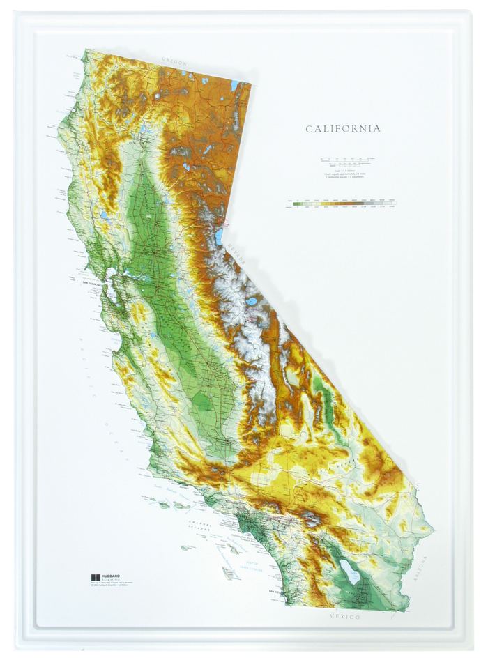 California 3D Raised Relief Map