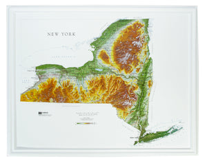 New York Three Dimensional Raised Relief Map