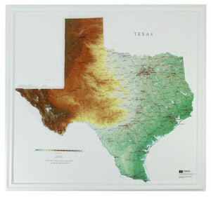 Texas Three Dimensional Raised Relief Map
