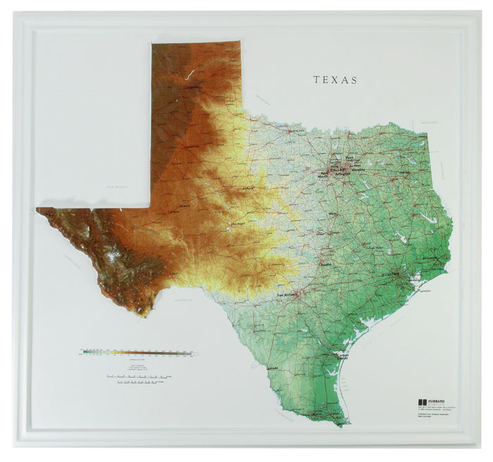 Texas 3D Raised Relief Map