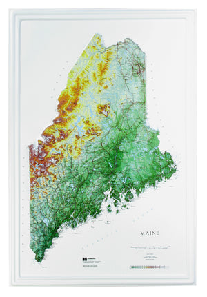 Maine 3 Dimensional Raised Relief Map