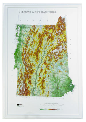 Vermont and New Hampshire Three Dimensional Raised Relief Map