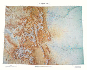 "Colorado Topographical Wall Map By Raven Maps, 43"" X 54"""