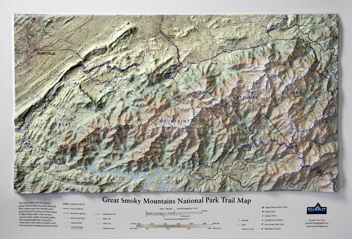 Great Smoky Mountains National Park Three Dimensional 3D Raised Relief Map