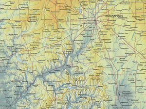 "Indiana Topographical Wall Map By Raven Maps, 44"" X 29"""