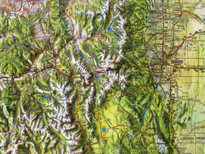 Colorado Natural Color Relief Three Dimensional 3D Raised Relief Map