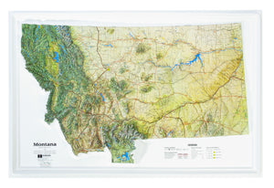 Montana Natural Color Relief Three Dimensional Raised Relief Map