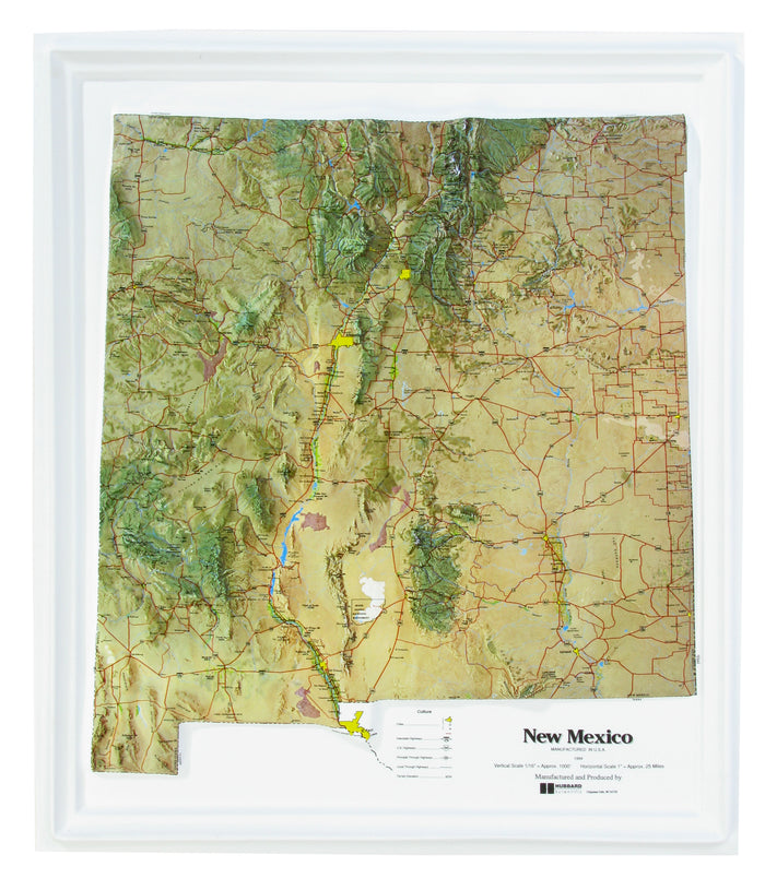 New Mexico Natural Color Relief 3D Raised Relief Map