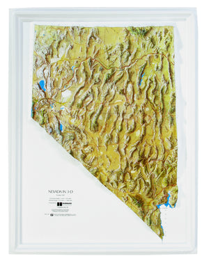 Nevada Natural Color Relief Three Dimensional Raised Relief Map