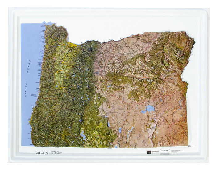 Oregon Natural Color Relief 3D Raised Relief Map