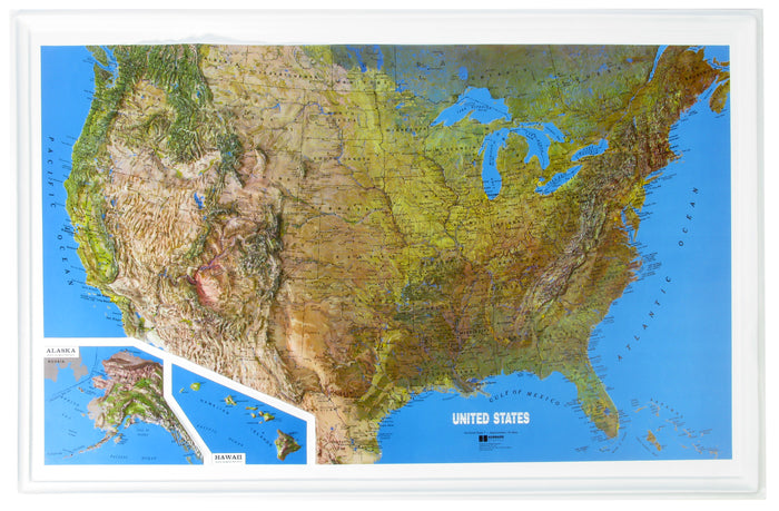 US Natural Color Relief 3D Raised Relief Map