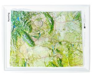 Wyoming Natural Color Relief Three Dimensional Raised Relief Map