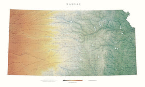 "Kansas Topographical Wall Map By Raven Maps, 35"" X 58"""