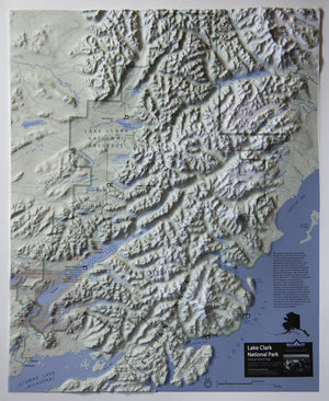 Lake Clark National Park Three Dimensional 3D Raised Relief Map