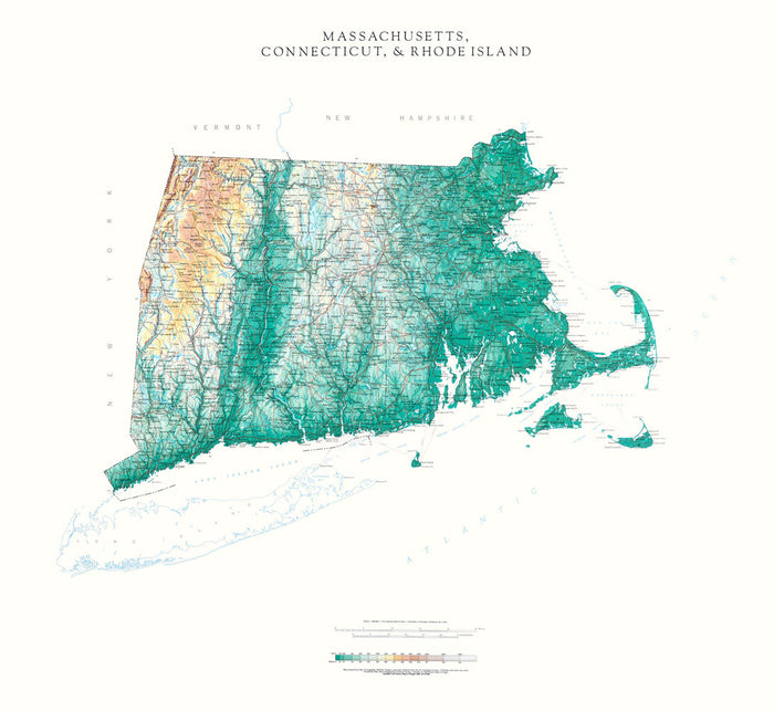 "Connecticut, Massachusetts, & Rhode Island Topographical Wall Map by Raven Maps, 32"" x 36"""