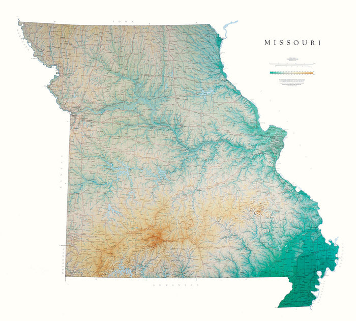 "Missouri Topographical Wall Map by Raven Maps, 42"" x 46"""