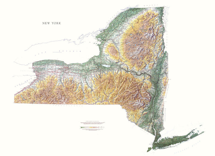 "New York Topographical Wall Map by Raven Maps, 43"" x 59"""