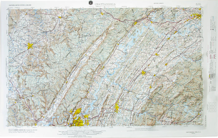 Chattanooga USGS Regional Raised Relief Map