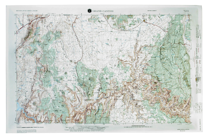 Grand Canyon USGS Regional Raised Relief Map