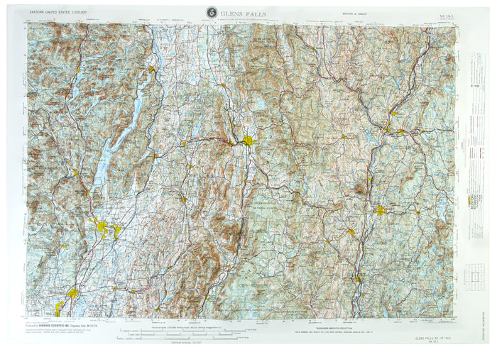 Glens Falls USGS Regional Raised Relief Map
