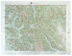 Concrete USGS Regional Three Dimensional Raised Relief Map