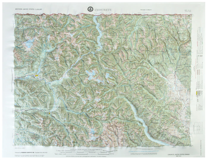 Concrete USGS Regional Raised Relief Map