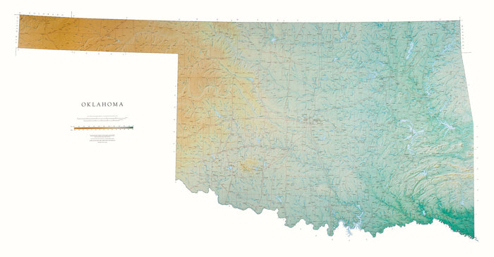 "Oklahoma Topographical Wall Map by Raven Maps, 35"" x 67"""