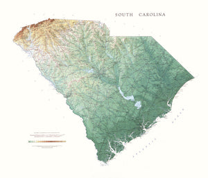 "South Carolina Topographical Wall Map By Raven Maps, 35"" X 41"""