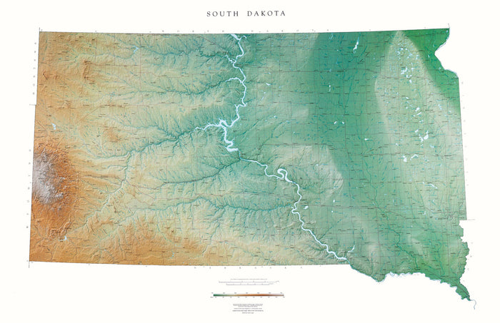 "South Dakota Topographical Wall Map by Raven Maps, 37"" x 56"""