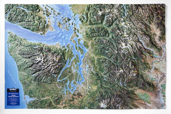 Seattle Pacific Northwest Satellite Image Three Dimensional 3D Raised Relief Map