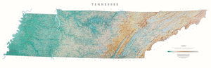 "Tennessee Topographical Wall Map By Raven Maps, 21"" X 65"""