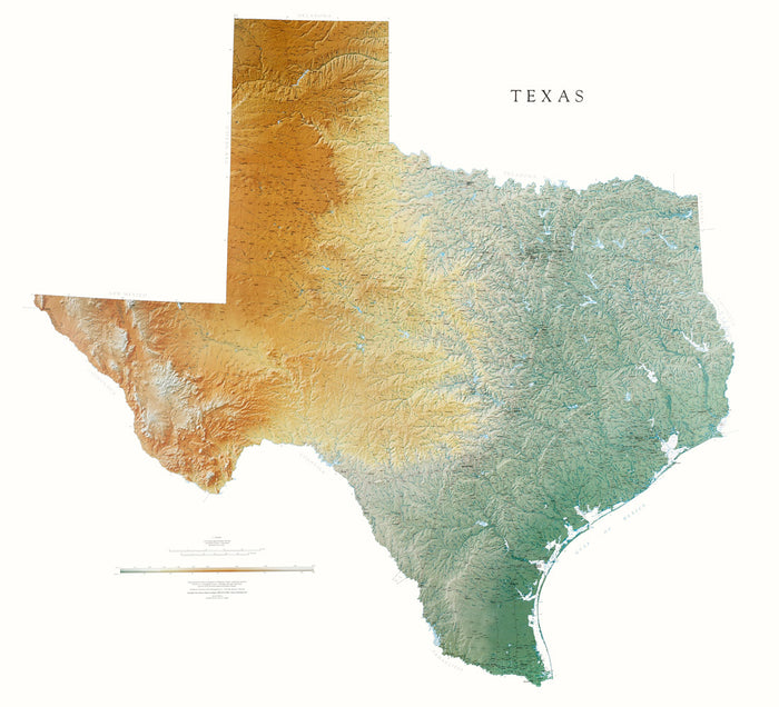 "Texas Topographical Wall Map by Raven Maps, 46"" x 50"""