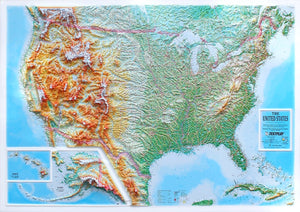 United States Three-Dimensional 3D Raised Relief Map