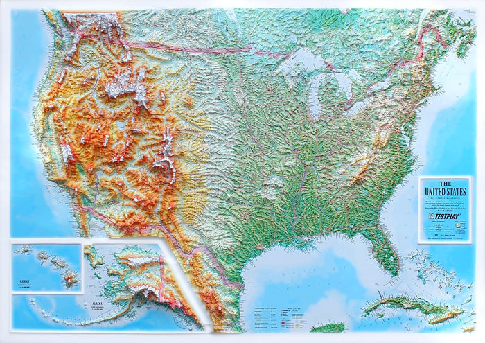 United States 3D Raised Relief Map