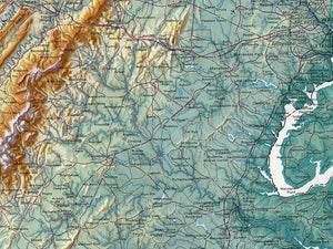 "Delaware, Maryland, & Virginia Topographical Wall Map By Raven Maps, 34"" X 64"""