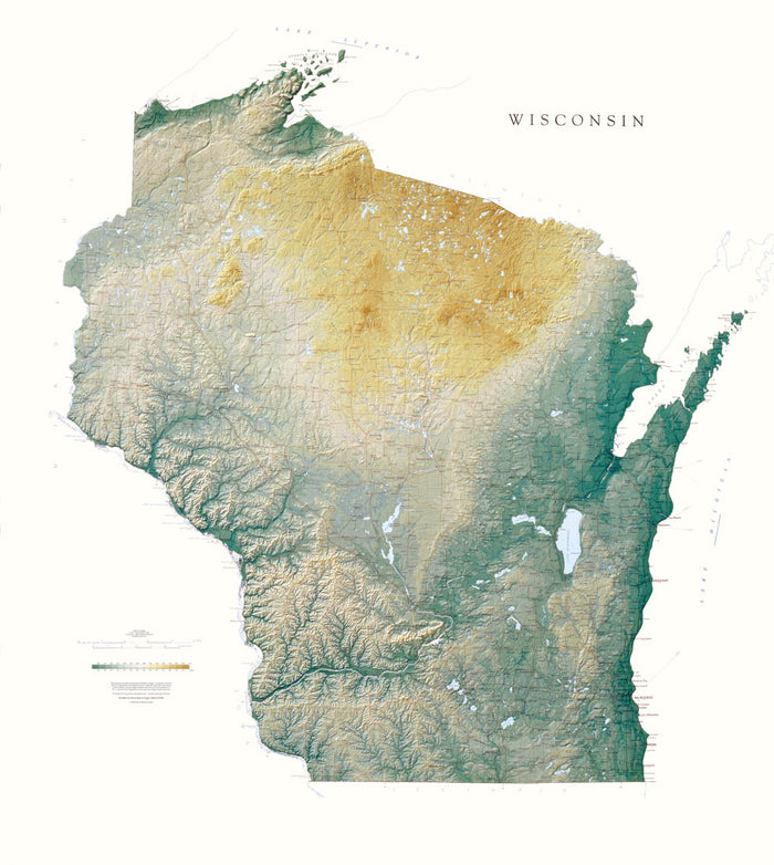 "Wisconsin Topographical Wall Map by Raven Maps, 47"" x 43"""