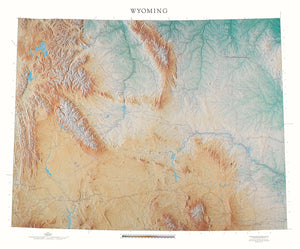 "Wyoming Topographical Wall Map By Raven Maps, 43"" X 52"""
