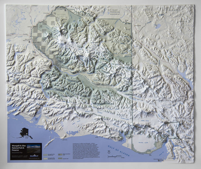 Wrangell-St Elias National Park Three Dimensional 3D Raised Relief Map