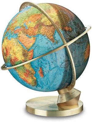 Brass Marco Polo Illuminated 13 Inch Desktop World Globe By Columbus Globes