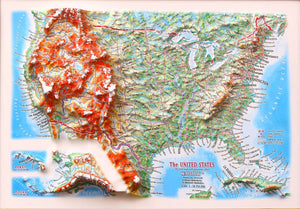 United States Three Dimension 3D Raised Relief Map - Gift size 12 inch x 9 inch