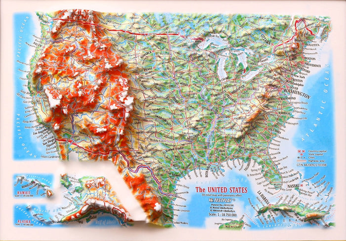 United States 3D Raised Relief Map - Gift size 12 inch x 9 inch
